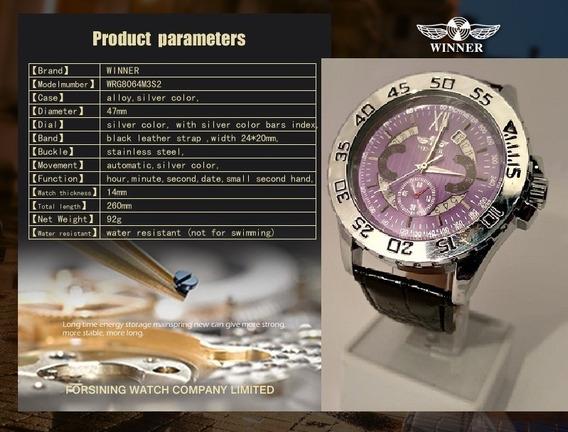 Relógio Winner U8039 Automático Prata Fundo Roxo