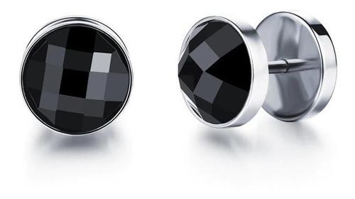 Imagen 1 de 3 de Aretes De Acero Inox Hombre Doble Vista Broc Crystal Black