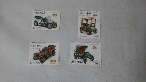 Lote De 4 Estampillas Viet Nam Tem. Autos Antiguos 1984