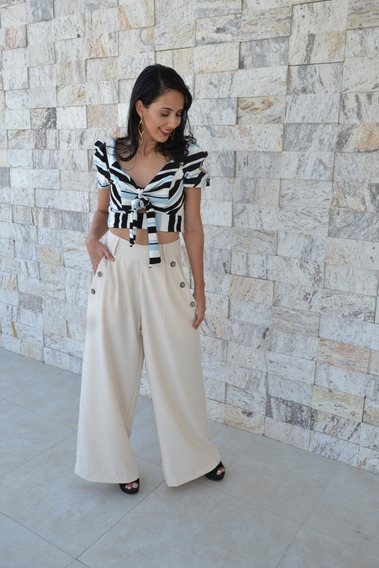 Conjunto Feminino Calça Pantalona E Cropped Listra Blogueira