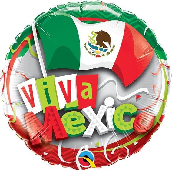 Globo Viva México De 18 Metálico Qualatex