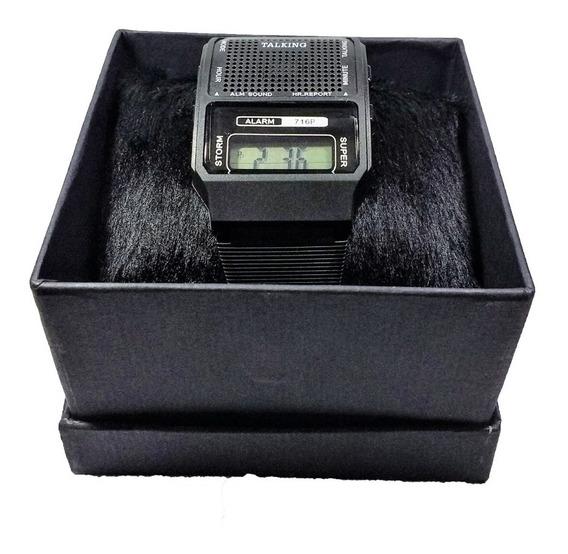 Relógio Fala Hora Alarme Digital Unissex Idoso Na Caixa