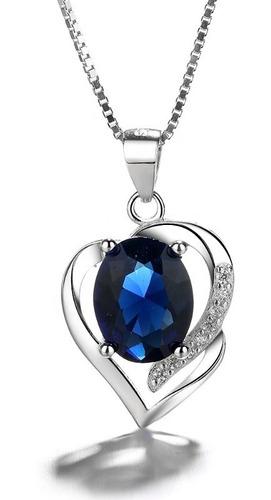 Collar Con Colgante Plata 925 Corazón Circón Azul Elegante