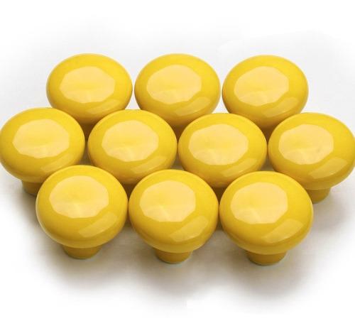Imagem 1 de 4 de Kit 10 Puxadores Gaveta Móvel Porcelana Provençal Amarelo
