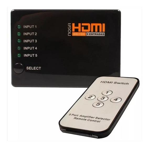 Switch Hdmi 5 Entradas 1 Salida Cable Full Hd Control Remoto