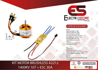 Kit Motor Brushless A2212 1400kv 10t + Esc 30a