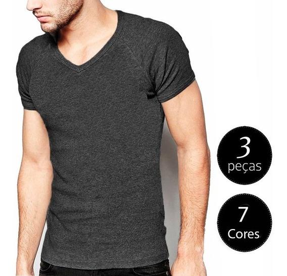 Kit 03 Camisetas Basica Gola V Masculinas Camisa Slim Fit Li