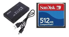 Cartão Memória Cf Compact Flash 512mb Sandisk + Leitor Usb