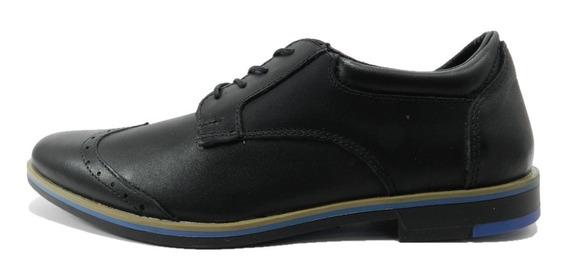 Zapato De Vestir Foster 049abo Cuero Negro 6451