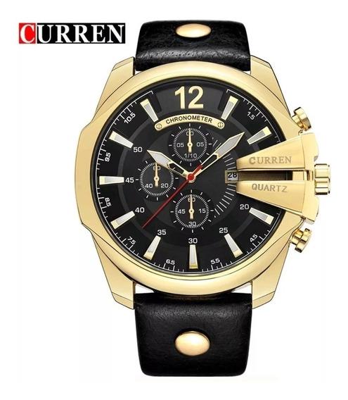 Relógio Curren 8176 Masculino Original - Pulseira De Couro