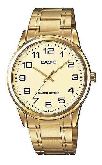 Relogio Casio Mtp-v001g Homem Dourado Clássico Nf Mtp-v001