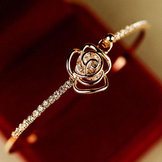 Pulseira Feminina Elegante Cristal Rosa Cor Ouro