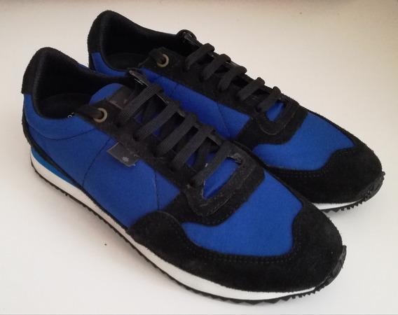 Zapatillas Running De Cuero Negro Y Tela Azul