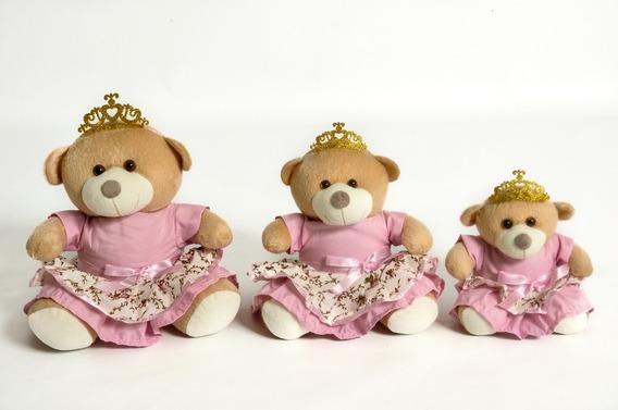 Trio De Ursinhos Para Nichos - 15cm 20cm 25cm Coroa Princesa