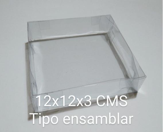 25 Cajas De Acetato Transparente 12x12x3 Cms Tipo Ensamblar.