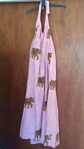 Vestido Largo Estampado Traído De India