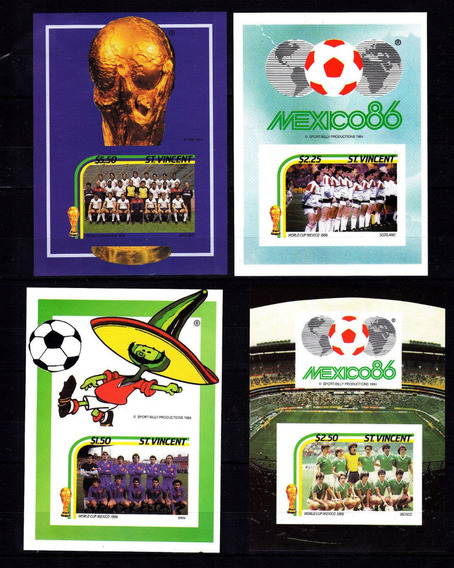 Estampillas Saint Vincent 1985 Mexico 86 Futbol 4 Hb Mint