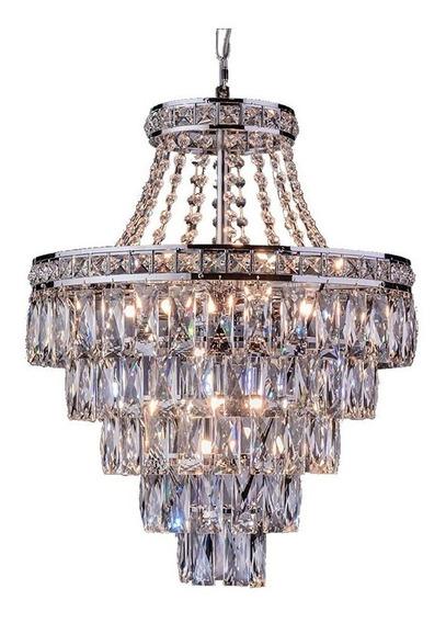 Luminária Lustre Pendente Florença Cromado Bivolt Led Incluso Startec