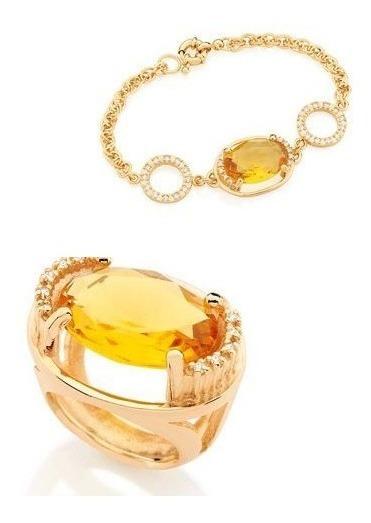 Conjunto Pulseira+anel Cristal Oval13x18mm Rommanel Folheado