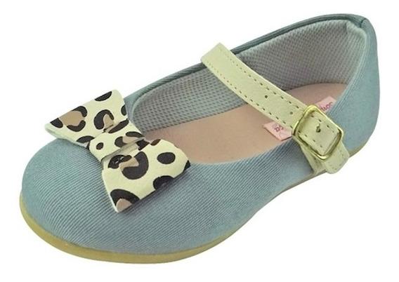 Sapato Boneca Baby Com Laço - Jeans Azul Bebê E Onça
