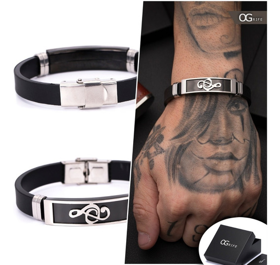 Pulseira Bracelete Masculino Ogrife J-455 Silicone Aço Inox