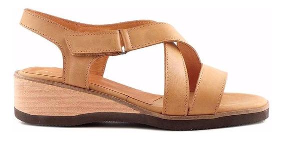 Sandalia Cuero Mujer Briganti Zapato Goma Confort Mcsd04317