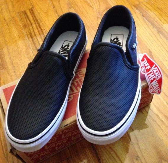 Tênis, Vans Asher Leather Black (slip On)