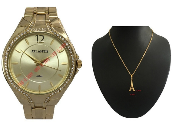 Relógio Feminino Atlantis Dourado Diamante + Corrente Torre