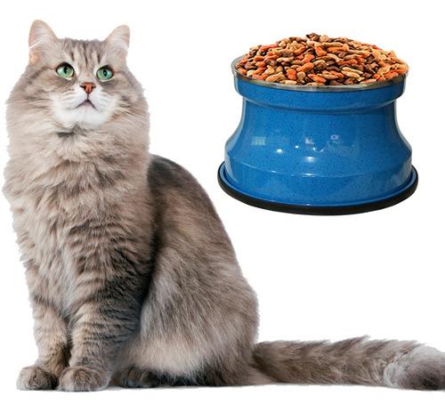 Imagem 1 de 3 de Comedouro Alto Para Gatos Alumínio Azul Gastrobel + Brinde