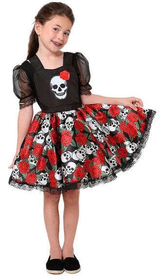 Roupa De Halloween Pra Criança Jardineira Caveira Mexicana