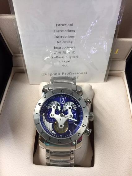 Relógio Buulgari 3d Prata Luxo Automático 12x