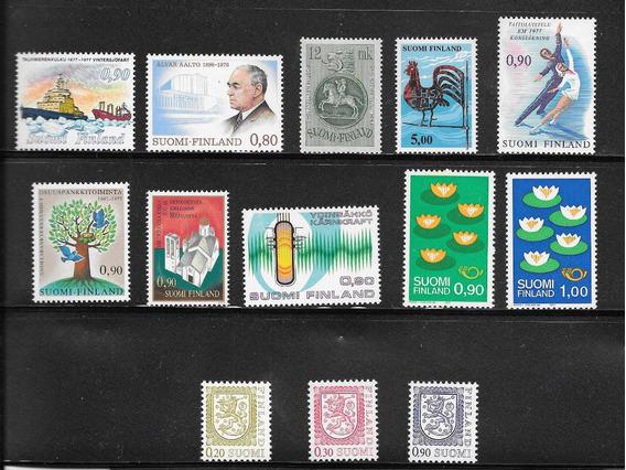 Estampillas Finlandia Lote De 13 Sellos Mint Impecables