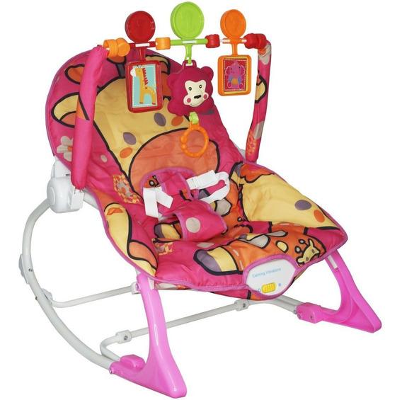 Cadeira Cadeirinha Bebê Descanso Rosa Vibra Musical Balanço