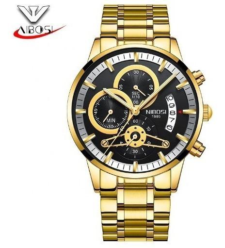 Reloj Hombre Nibosi 2309 Original De Lujo Cronografo +extras