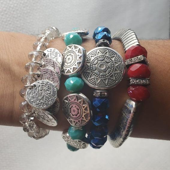 Kit Pulseira De Miçangas Elástico Bracelete Feminino