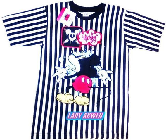 Mickey Mouse Playera Rayas Camiseta Unisex Niñ@ Original