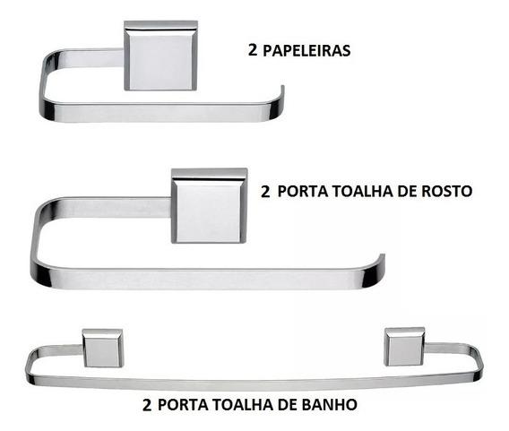 Kit De Acessórios Para Banheiro Linha Luxo Quadrado 6 Peças