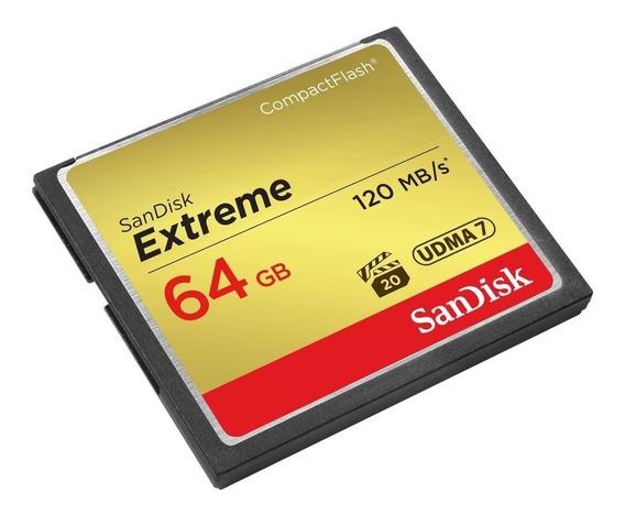 Cartão Memória Sandisk 64gb Compact Flash Extreme 120 Mb/s