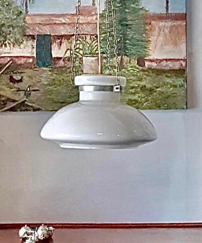 Antigua Lámpara De Opalina Retro Colgante