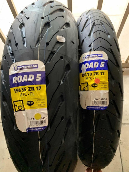 Combo Michelin 120/70-17 + 190/55-17 Pilot Road 5 Lançamento
