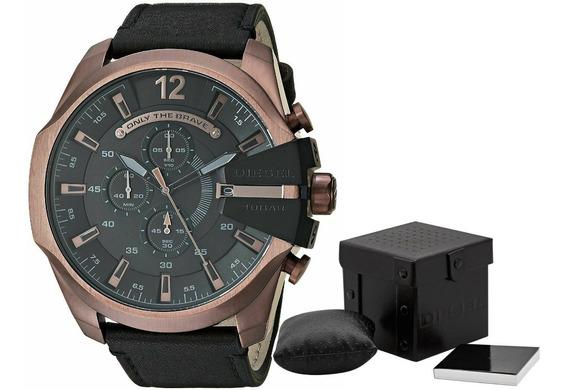 Relógio Diesel Masculino Mega Chief Dz4459 Bronze Couro