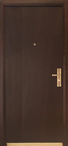 Puerta De Seguridad Viera Aper Izq Acero + Madera Nogal
