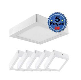 Kit 5 Plafon Sobrepor 6w Led Quadrado Painel Spot Luminari