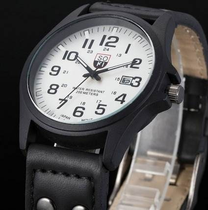Relógio Military Soki Suíço Army Estil Couro Preto Sk059