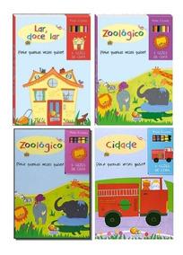 Kit 04 Livros De Colorir Pinte E Repinte + Gizes De Cera