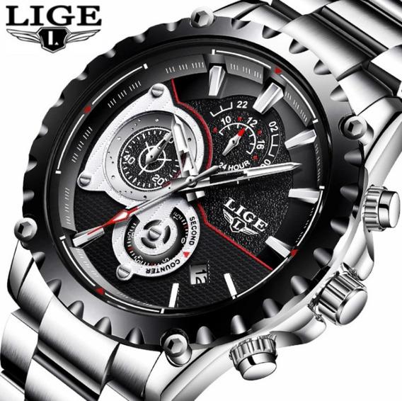 Relógio Masculino Lige 9842 Original 100% Funcional Aço Inox
