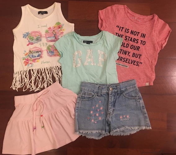 Combo X 5 Nena Talle 4 A 6 Años. Carters Gap Remera Short