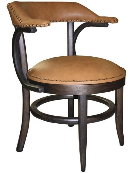 Mueble,silla Austriaca Buena Fe Vinil Café ·patas Tono Nogal