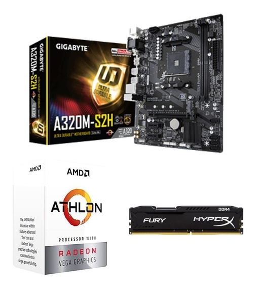 Kit Amd Athlon 200ge 3.2ghz + Mb A320m + 4gb Ddr4