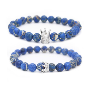 Poshfeel 8mm Natural Blue Sediment Stone Cz Crown King Be